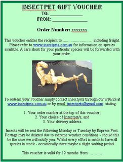 $58 Gift Voucher - $30 Stick Insect Pair + Start-Up Enclosure + Freight